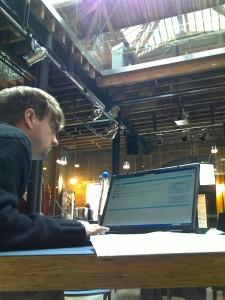 Greg working hard at the Hub