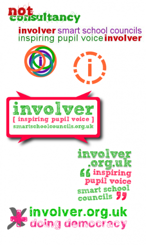 involver's logos in various guises and with a variety of taglines
