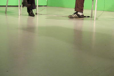 Feet of a student and a teacher in an interview